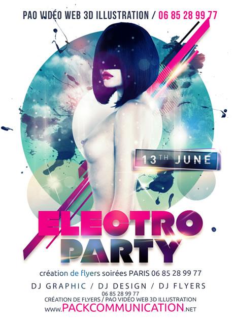 flyer soirée thème Electro Party 1b